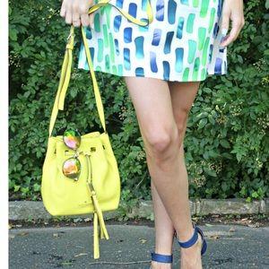 Kate spade yellow leather bucket bag